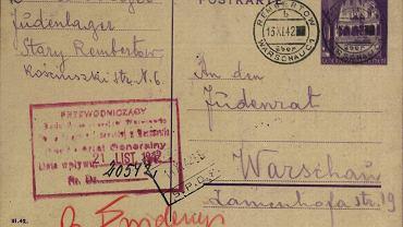 Prośba o informację o losie Małki Korentajer. lat ok. 60, która znalazła się 15.11.1942 na Umschlagplatzu. List z 12 listopada 1942 r. wysłany przez M. Korentajer (przebywającej w Rembertowie w obozie dla Żydów przy Kościuszki 6) do Rady Żydowskiej w Warszawie. Do listu załączona została kartka pocztowa z adresem zwrotnym.