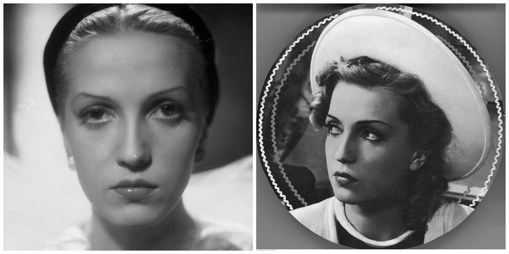 Po lewej Tamara Wiszniewska jako Janina, córka Kotlicy w filmie 'Dziewczyna szuka miłości, po prawej aktorka w filmie ''Przez łzy do szczęścia'' (fot. Narodowe Archiwum Cyfrowe)