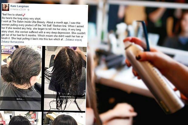 """Po pół roku niemycia włosów trafiła na fryzjerkę, która całkowicie ją odmieniła. """"Rozumiem ją"""" [ZDJĘCIA]"""