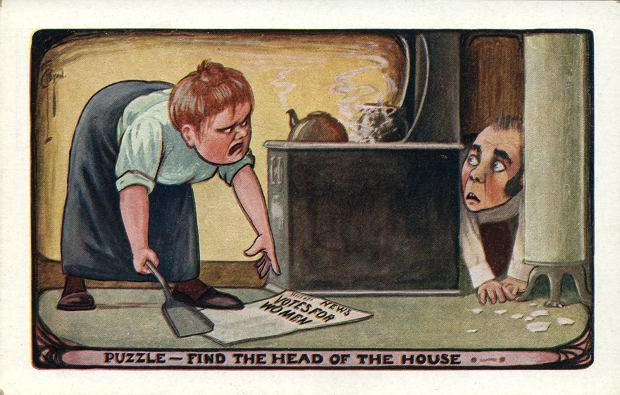 Propagandowe pocztówki przeciwko sufrażystkom