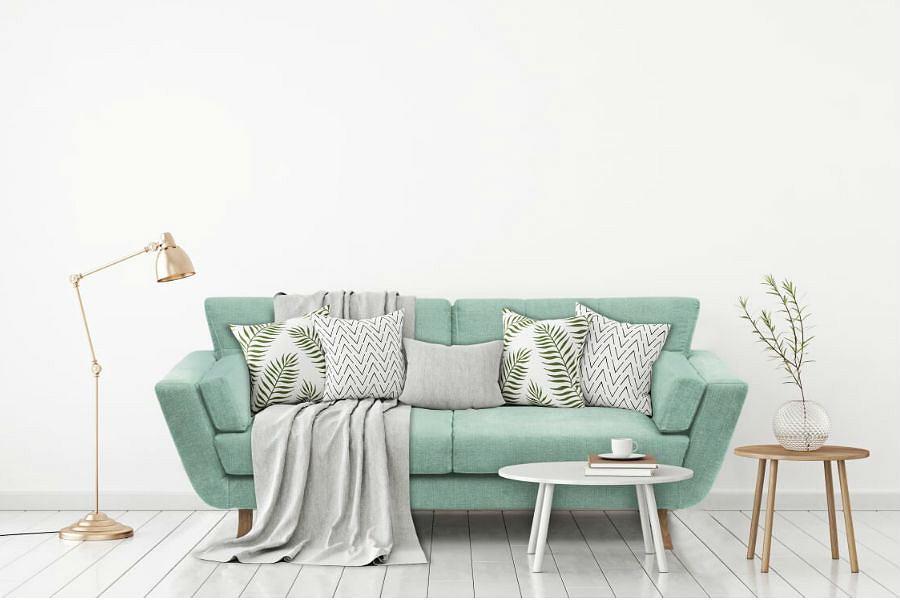 Sofa w kolorze lekkiej, orzeźwiającej mięty