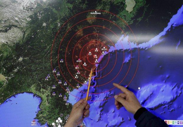 Fala sejsmiczna po pr�bie nuklearnej Korei P�n.