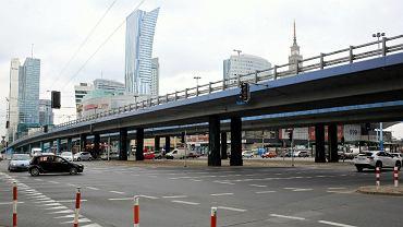 Warszawa , al. Jana Pawła II, rondo Czterdziestolatka i wiadukty nad Alejami Jerozolimskimi.