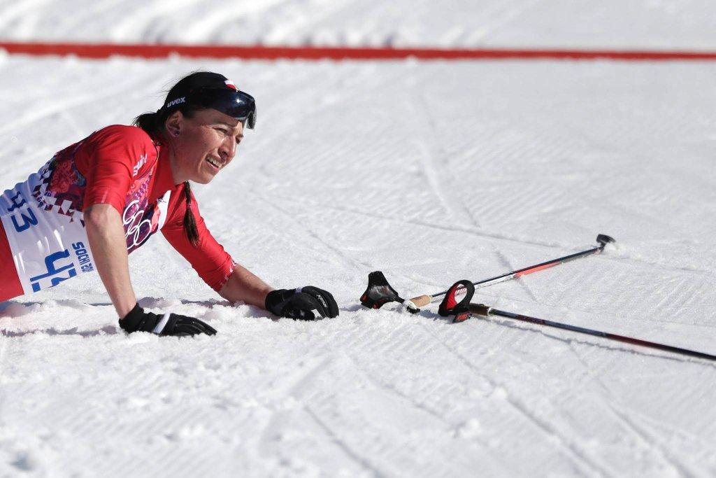 Szczęśliwa Justyna Kowalczyk po przekroczeniu linii mety. Za chwilę dowie się, że zostało mistrzynią olimpijską.