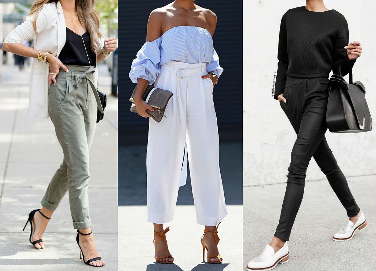 58de06cfaabb Eleganckie spodnie z wysokim stanem