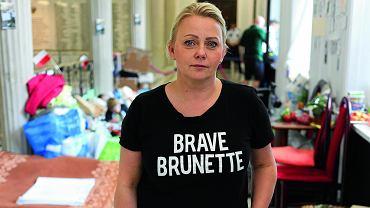 Iwona Hartwich podczas protestu w Sejmie