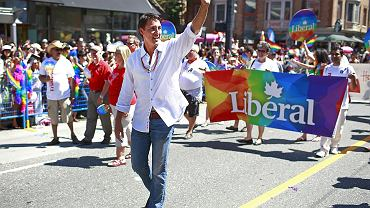 Justin Trudeau na Paradzie Równości w Vanouver