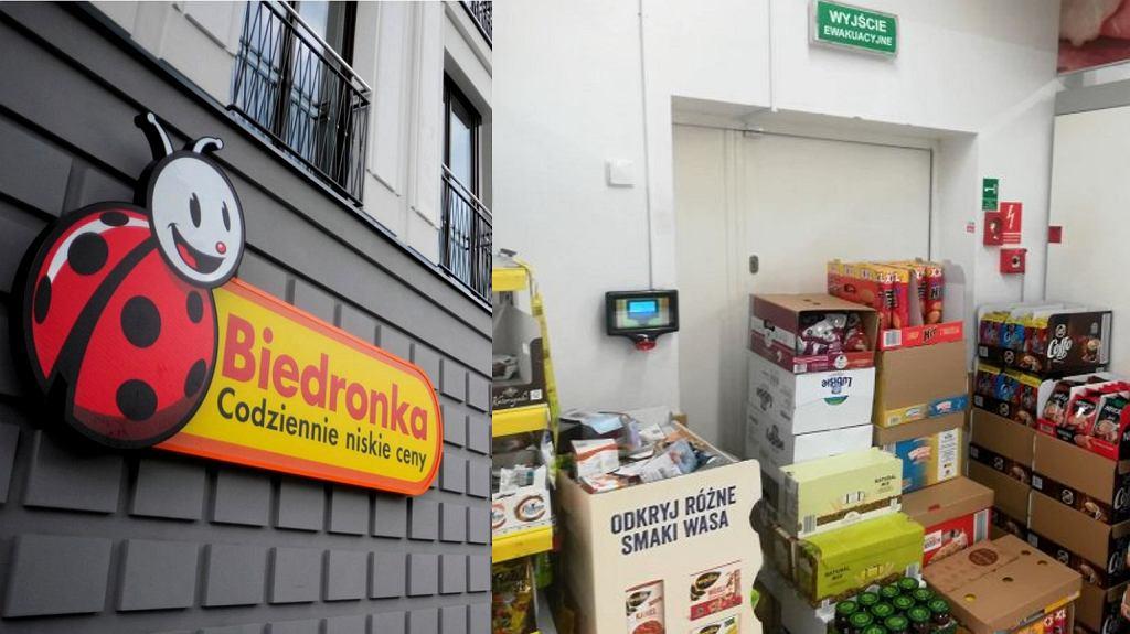 W niektórych sklepach sieci Biedronka część wyjść ewakuacyjnych bywa zastawionych