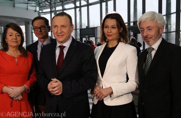 Danuta Holecka, Przemys�aw Babiarz , nowy prezes TVP Jacek Kurski,  Anna Popek oraz re�yser Maciej Stanecki, cz�onek zarz�du TVP