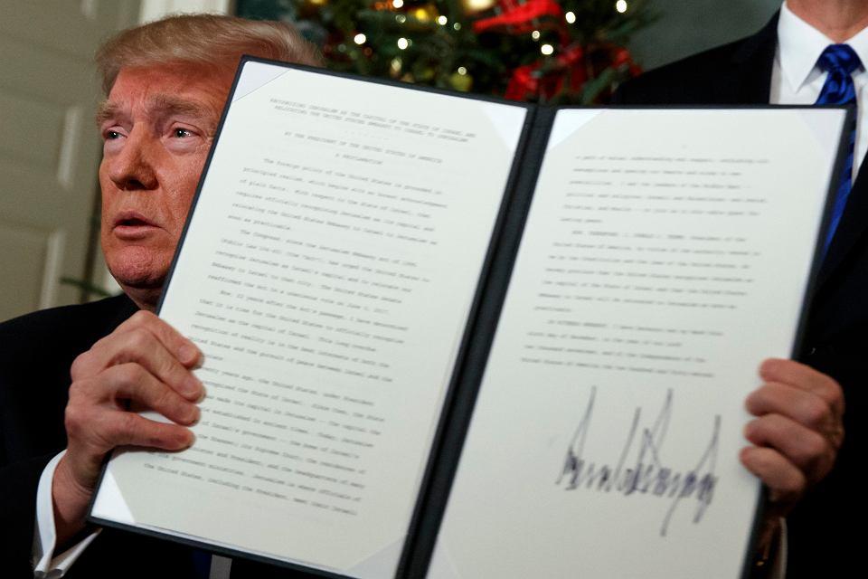 Donald Trump uznaje Jerozolimę za stolicę Izraela