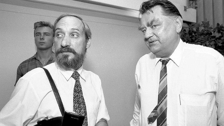 Premier Jan Olszewski i minister Antoni Macierewicz, sierpień 1992