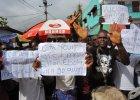 Protest przed szpitalem