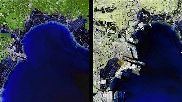 Region Binhai nad zatoką Morza Żółtego, jedna z najważniejszych nowych stref przemysłowych w Chinach. Na polach, bagnach i nieużytkach wyrosły fabryki produkujące dla największych firm świata. Z lewej strony zdjęcie z roku 1992, z prawej - 2012