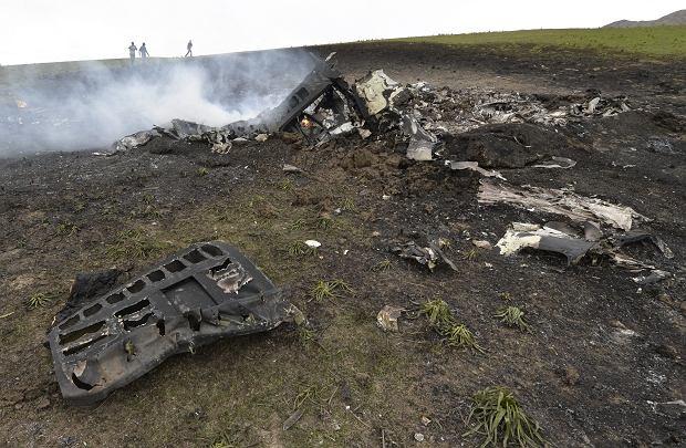 Szcz�tki ameryka�skiego samolotu, kt�ry rozbi� si� w Kirgistanie