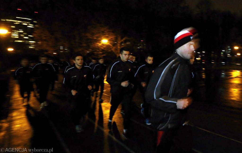 Piłkarze Polonii Warszawa podczas pierwszego treningu po przerwie zimowej