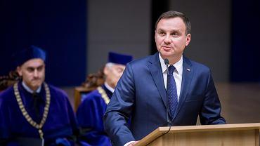 Prezydent Andrzej Duda podczas uroczystości inaugurującej rok akademicki na Uniwersytecie Jagiellońskim