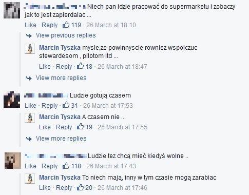 Marcin Tyszka kłóci się z fanami na FB