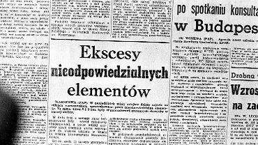 Prasa potępiająca tzw. wydarzenia marcowe w 1968 roku.
