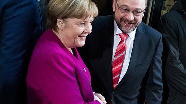 Rozmowy koalicyjne Angeli Merkel (CDU) i Martina Schulza (SPD). Berlin, 7 stycznia 2018 r.