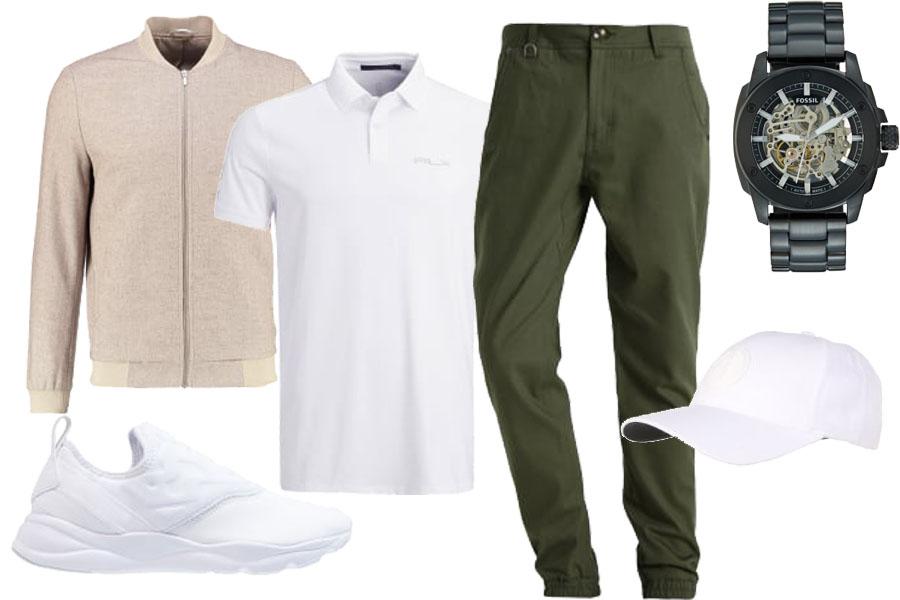 Stylizacja z białą koszulką polo / Kolaż / Materiały partnera