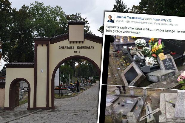 Zdewastowany cmentarz w Ełku. Przez noc zniszczono około 100 nagrobków