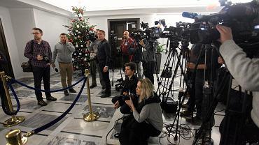 Dziennikarze w Sejmie w poniedziałek 19 grudnia
