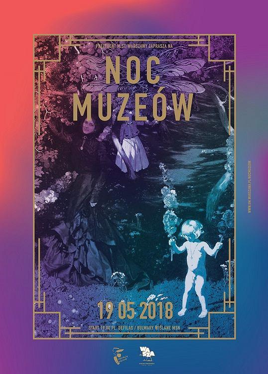 Plakat Nocy Muzeów 2018 w Warszawie.