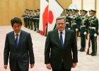 Prezydent Bronis�aw Komorowski i premier Japonii Shinzo Abe