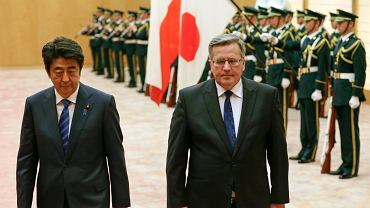 Prezydent Bronisław Komorowski i premier Japonii Shinzo Abe