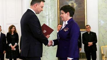 Prezydent Andrzej Duda i Beata Szydło