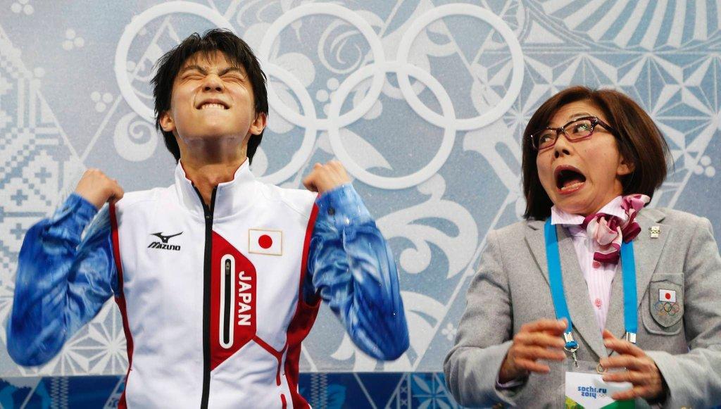 Yuzuru Hanyu i trenerka Yoshiko Kobayashi