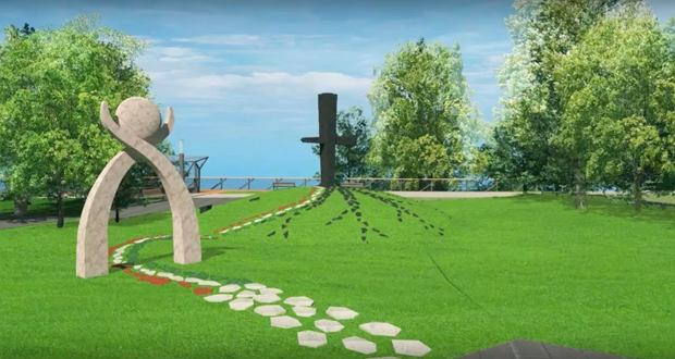 Projekt pomnika smoleńskiego, który zostanie odsłonięty w Budapeszcie.