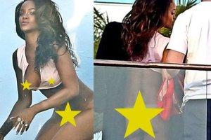 My�leli�my, �e Rihanna pokaza�a ju� wszystko. A jednak nie! Pozuje bez majtek, ale wzrok przyci�ga jeden szczeg�