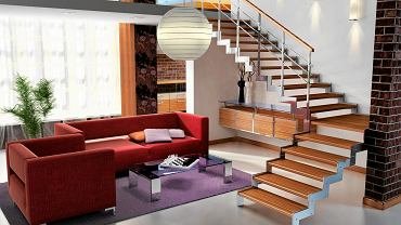 WYPOSAŻENIE WNĘTRZ: dobrana para<BR /> Na stalowej konstrukcji zamocowano stopnie z barwionego drewna. Oba materiały zastosowano też w balustradzie.