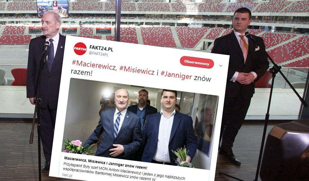 Konferencja prasowa przed Szczytem NATO, Antoni Macierewicz i Bartłomiej Misiewicz (zdj. z 2016 roku)