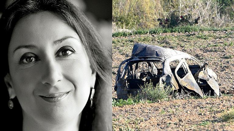 Daphne Caruana Galizia i wrak auta, w którym zginęła