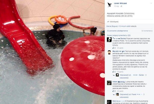 Zdjęcie muzułmanki na basenie w Koszalinie