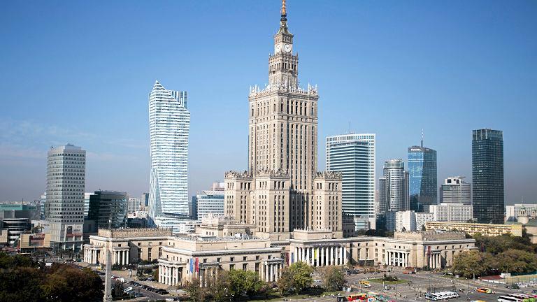Widok na centrum Warszawy.