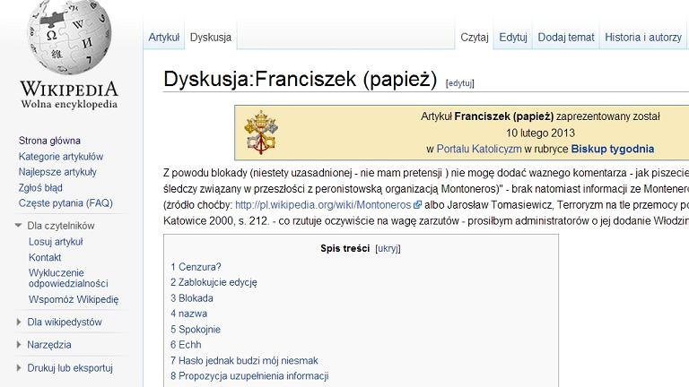 Strona dyskusji o artykule 'Franciszek (papież)'