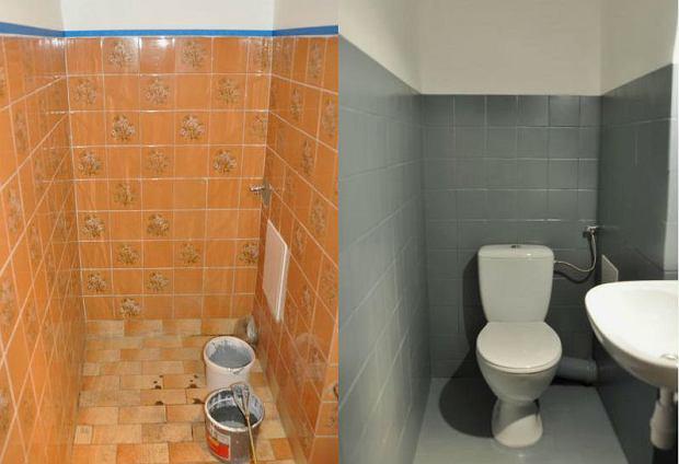 Metamorfoza łazienki - płytki zostały pomalowane farbą NOXAN Hydropox