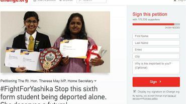 Strona, na której można złożyć podpis pod petycją o uwolnienie 19-letniej Yashiki (z prawej)