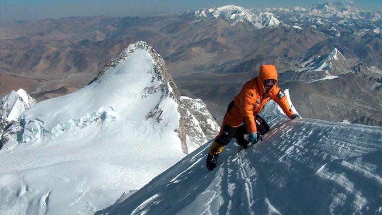 Simone Moro w okolicy szczytu