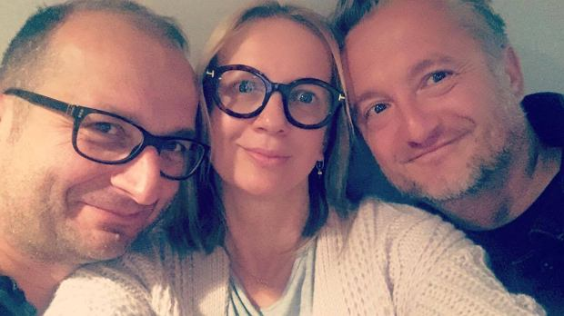 Robert Górski, Marzena Rogalska i Mikołaj Cieślik w studiu Radia Złote Przeboje