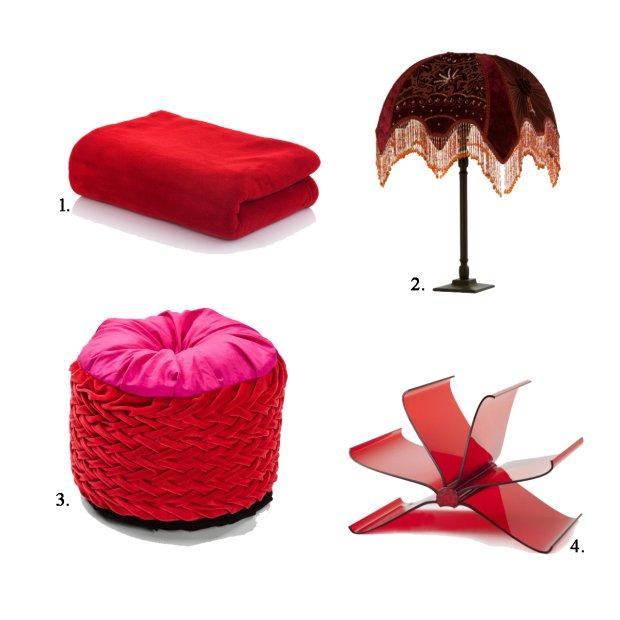 rzeczy do sypialni w kolorze czerwonym