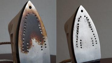 Przypalone żelazko można uratować! Na zdjęciu to samo żelazko przed i po czyszczeniu.