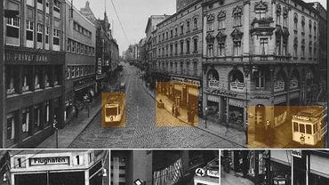 Breitestrasse czyli dzisiejsza ulica Wyszyńskiego i wzięte pod lupę fragmenty zdjęcia