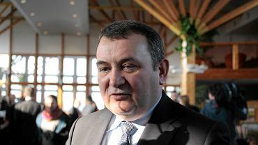 Stanisław Gawłowski na konferencji prasowej w lutym 2017 r. w Szczecinie