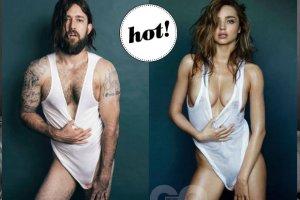"""Pojedynek na """"klaty"""" - seksowna Miranda Kerr vs. brodaty hipster - kto wygrywa to starcie?"""