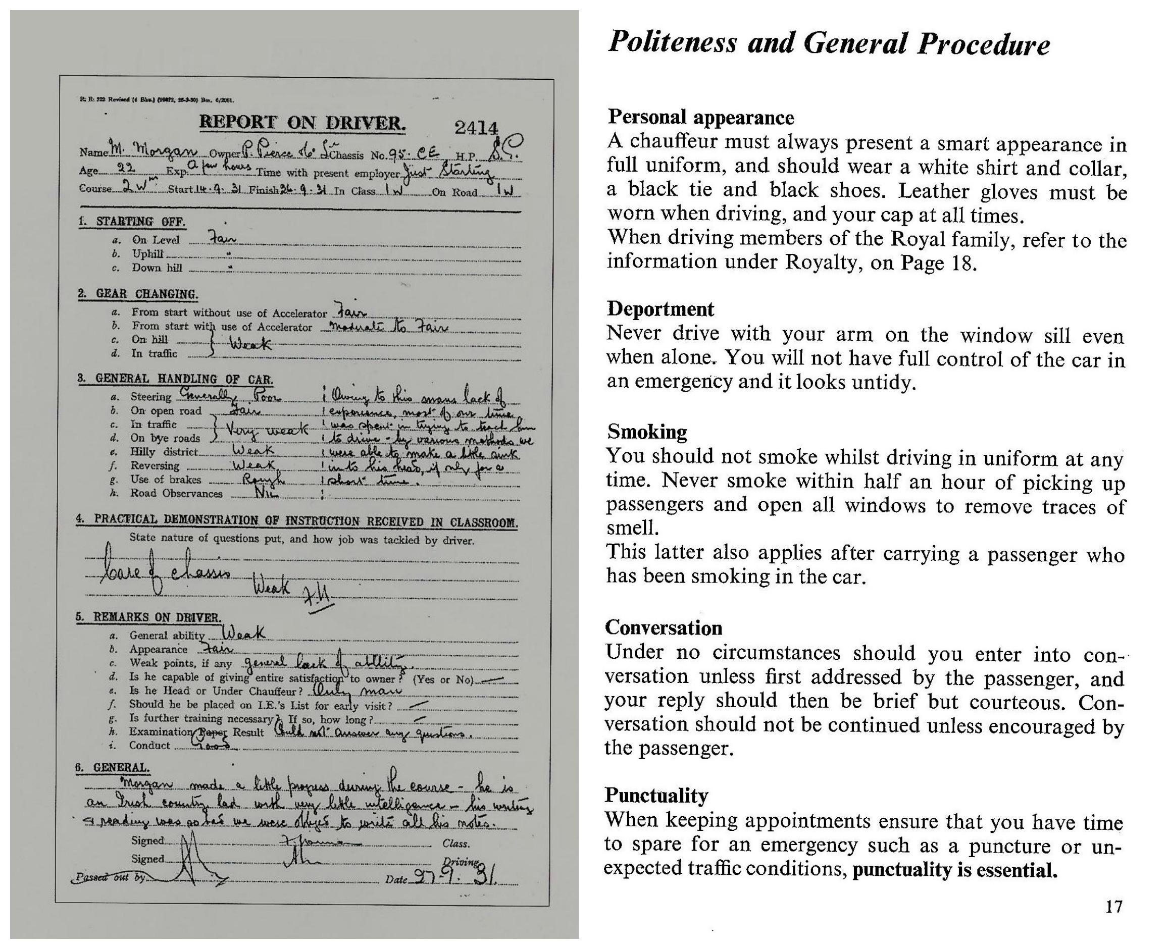 Karta ocen i instrukcja dla kandydata na szofera Rolls-Royce'a (fot. Rolls-Royce Polska)
