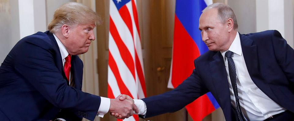 Prezydent Donald Trump i prezydent Władimir Putin podczas spotkania w Helsinkach, 15 lipca 2018.
